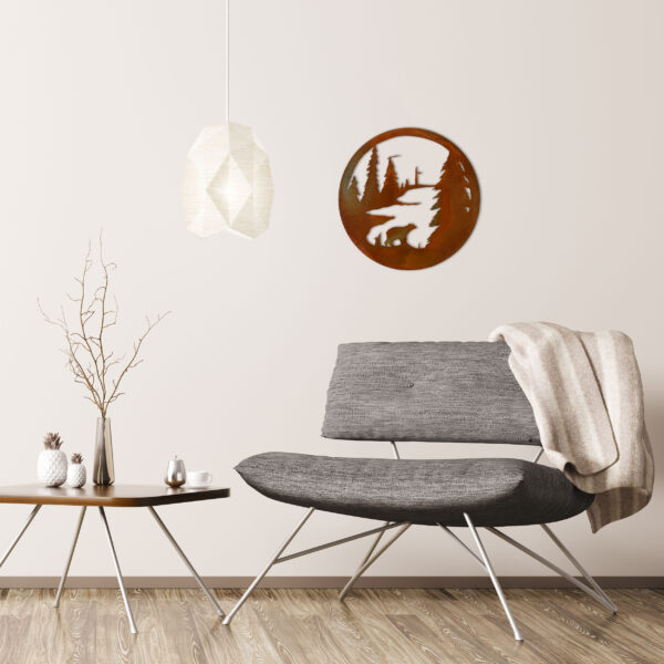 rust-bear-circle-over-gray-chair