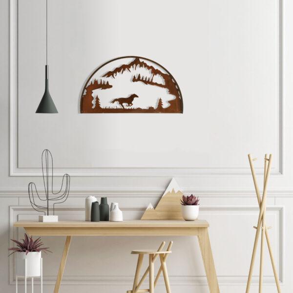 rust-horse-hoop-over-desk