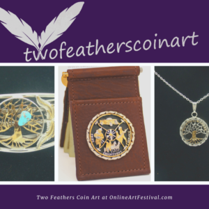 Two Feathers Coin Art