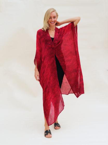 red bubble silk kimono