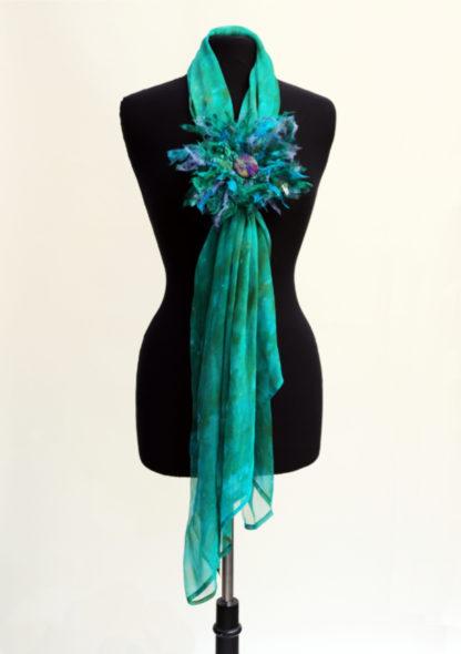 Jade silk gauze scarf with flower brooch