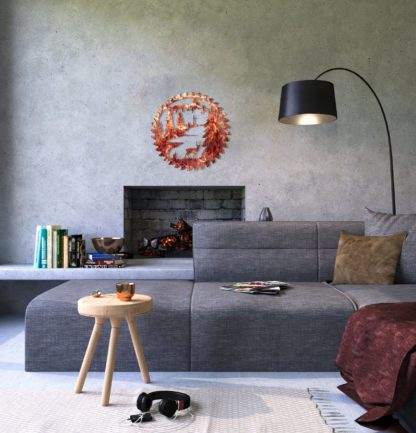 buzz-blade-in-living-room-standing-deer-distressed-copper-scaled