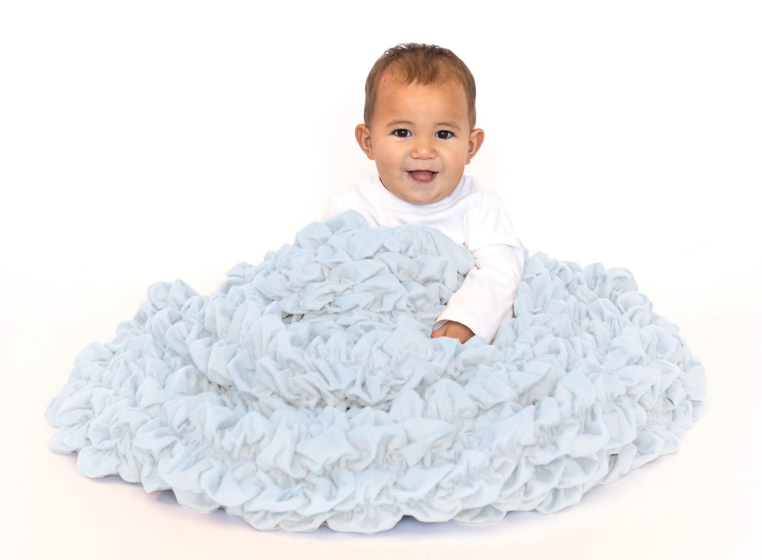Pale Blue Plush Crib Blanket
