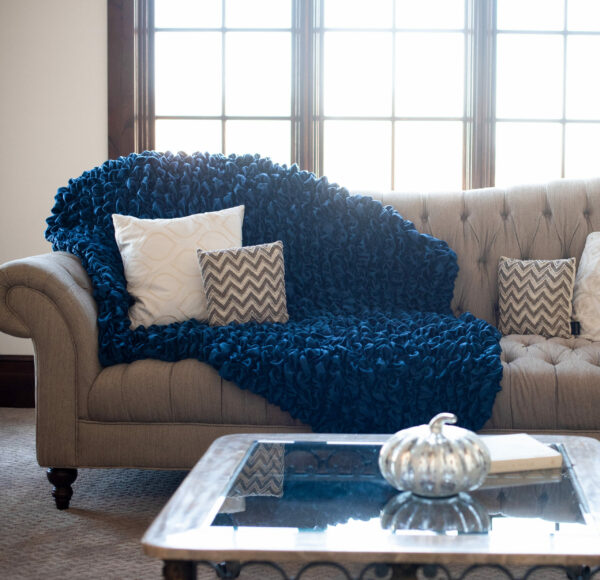 Navy Blue Albrea Embrace Luxury Throw